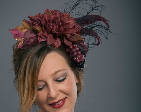 Vineyard Wine Purple Grape Headpiece Southwestern Carnevale Bacchus Dionysus Greek Goddess Boho Flower Fascinator Flower Burgundy Headdress