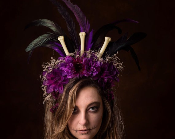 Voodoo Flower Crown Purple Tiki Jungle Moss Headdress Tropical Black Sacred Magic Cannibal Gothic Festival New Orleans Feathers Headpiece