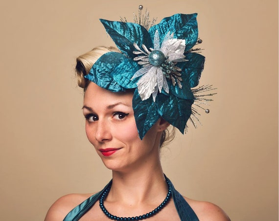 Blue Christmas Winter Fascinator Frozen Poinsettia Headdress Ugly Sweater Party Hand Made Headpiece Silver Pin Up Burlesque Hair Flair