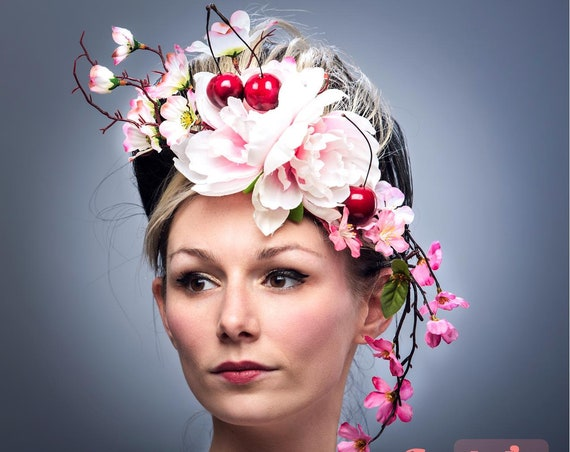 Pink Cherry Blossom Floral Fascinator Ascot Rococo Hatinator Red Cherries Derby Headpiece Hand Fruit Carnevale Headdress Garden Tea Party
