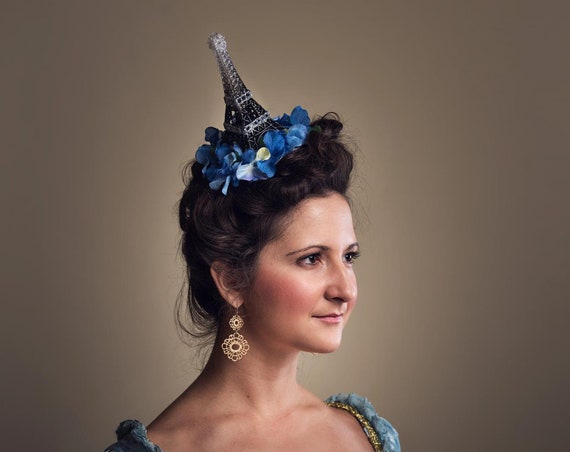 Eiffel Tower French Harlots Flower Fascinator Bastille Day Blue Rococo Headpiece Antoinette Funny Headdress France Paris Tour Party Hat