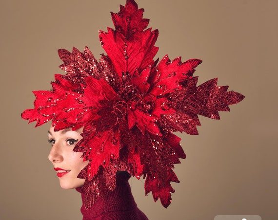 Huge Red Glitter Poinsettia Fascinator Giant Winter Headpiece Tacky Ugly Christmas Sweater Headdress Large Quirky Yule Party Hair Flair