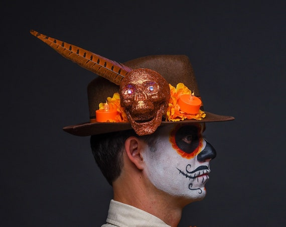 Brown Orange Fedora Skull Dia de los Muertos Cempazuchitl Feather Skull Day of the Dead Hat Mens Light Up Cempasuchil Costume Halloween
