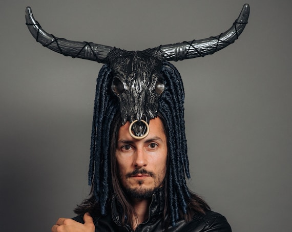Monster Dreadlocks Bull Skull Headdress Celtic Viking Beast Costume Gothic Horn Blue Black Silver Grey Pewter Headpiece Halloween Bovine