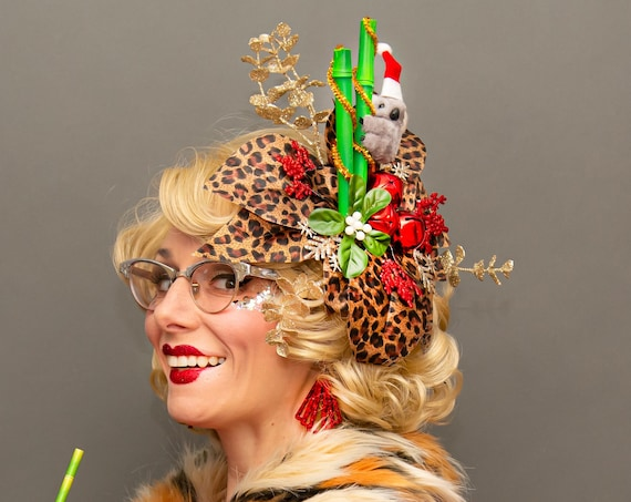Tacky Christmas Tiki Kitschmas Fascinator Jungle  Belles Koala Tropical Santa Hat Leopard Poinsettia Flower Sweater Holiday Party Eucalyptus