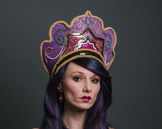 Pink Purple Golden Kokoshnik Goddess Queen Crown Royal Majestic Headdress Mardi Gras Carnevale Costume Headpiece Festival Masquerade Theater
