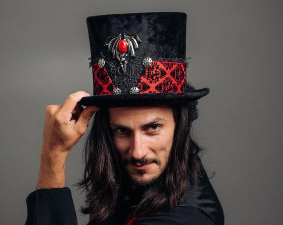 Vampire Mens Velvet Top Hat WGT Victorian Weeper Funeral Costume Gothic Dracula Dark Black Red Bat Skull Masquerade Underground Underworld