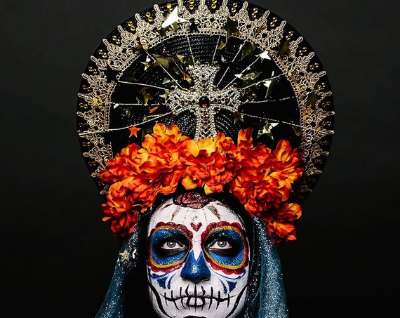 Day of Dead Dia de Muertos Virgin Mary Halo Saint Flower Crown Cempazuchitl Marigold Veil Gold Star Light Up Headpiece Headdress Mantilla