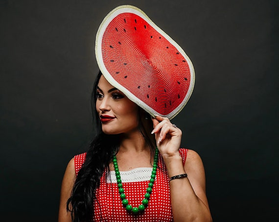 Watermelon Slice Hatinator Blossom Headpiece Fruit Dapper Day Melbourne Headband Spring Summer Derby Horse Show Race Fascinator Pin Up Party
