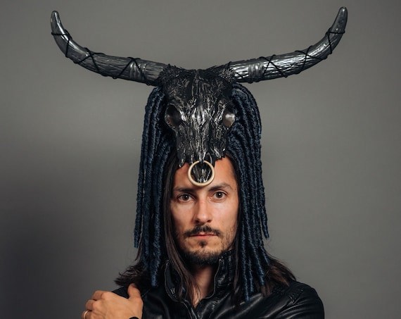 Bovine Long Horn Skull Shaman Minotaur WGT Costume Voodoo Priest Headdress Witch Doctor Headpiece Halloween Greek Myth Labyrinth Samhain
