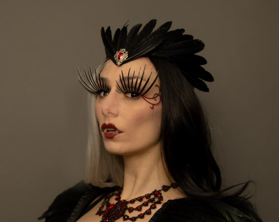 Morrigan Black Raven Goddess Succubus Demon Crown WGT Gothic Feather Samhain Headdress Queen Vampire Mistress Costume Crone Witch Headpiece