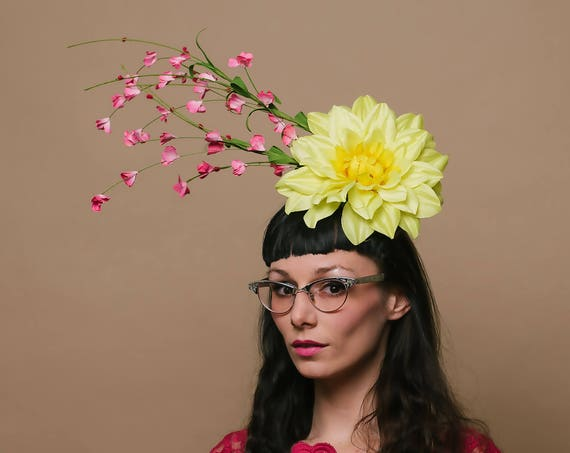 Bright Yellow Dahlia Pink Hair Flower Dapper Day Hat Spring Summer Horse Race Show Headpiece Derby Floral Fascinator Garden Tea Ascot Party