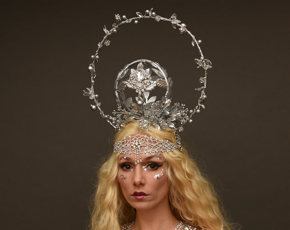 Silver Halo Fantasy Magical Crown Mage Elf Fairy Faerie Headpiece Art Nouveau Costume Headdress Forehead Chain Celestial Renaissance Shaman