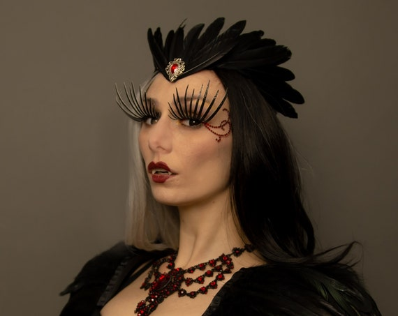 Black Crow Medieval Renaissance Crown Fantasy Goth Feather Samhain Headdress  Raven Fairy Fantasy Costume Empress Art Nouveau Dark Headpiece