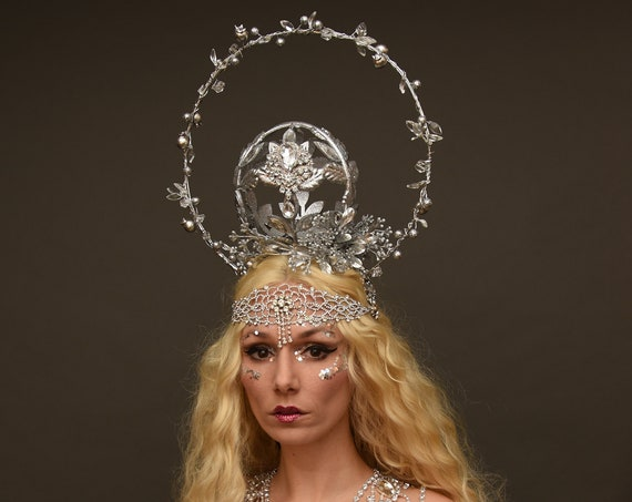 Silver Oracle Woodland Witch Headdress Mystical Empress Crystal Pagan Hierophant High Priestess Wiccan Crown Moon Goddess Costume Headpiece