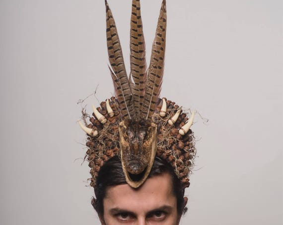 Alligator Swamp Monster Voodoo Headpiece Reptile Shaman Crocodile Sacred Headdress Spanish Moss Teeth Pinecone Jungle Juju Rougarou