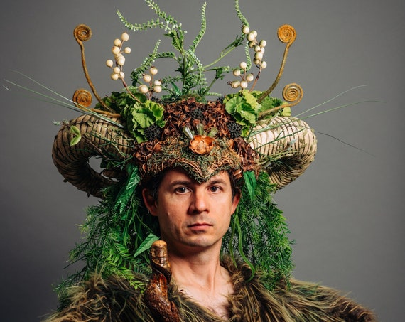 Large Ram Horns Nature Green Man Costume Headdress Woodland Horned May Day Cernunnos Pan Headpiece Druid Jack Renaissance Boho Earth Forest