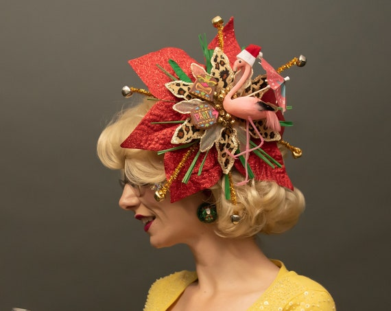 Tacky Christmas Tiki Flamingo Kitsch Fascinator Tropical Santa Hat Retro Leopard Headpiece Poinsettia Hawaiian Sweater Holiday Party Tikimas