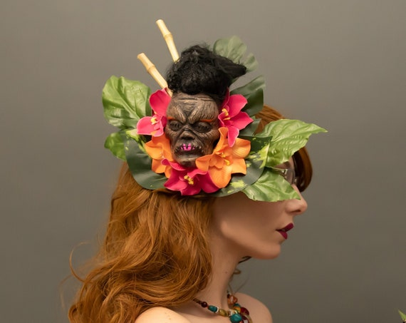 Shrunken Head Voodoo Gothic Tiki Palm Headdress Shaman Witch Doctor Bones Oasis Costume Headpiece Tribal Jivaro Indians Amazon Hukilau