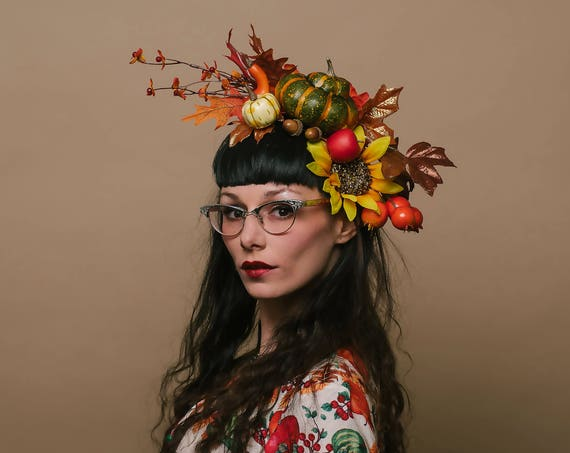 Harvest Autumn Fall Pumpkin Nature Fascinator Sunflower Green Gourd Melbourne Headpiece Acorn Hatinator Garden Tea Party Horse Headdress