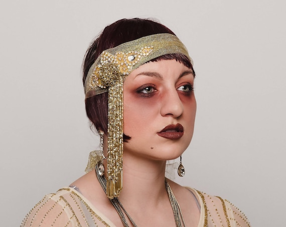 Golden Flapper 1920s Gatsby Headpiece Beaded AB Crystal Tassel Headband Large Forehead Band Headwrap Showman Burlesque Costume Headdress