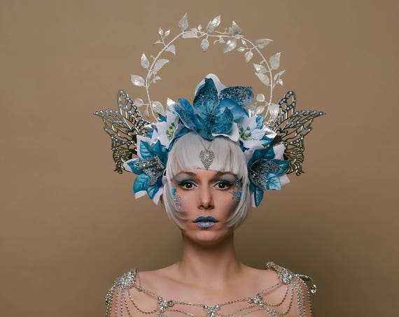 Winter Woodland Queen Rave Fairy Head Piece Ice Blue Silver Pixie Wings White Crown Festival Carnevale Floral Headdress Frosty Snow Goddess