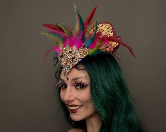 Ganesha Indian Belly Dance Rave Headdress Rainbow Golden Hindu Feather Crown Goddess Headpiece Carnevale Mardi Gras Queen Empress Burlesque