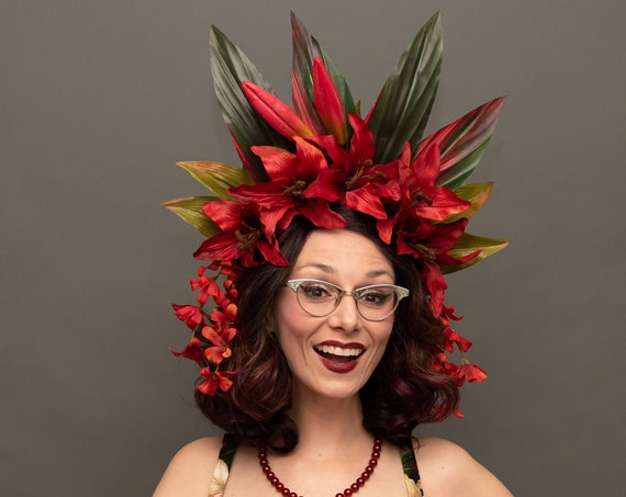 Tiki Noir Red Fire Pele Headdress Tropical Gothic Flower Crown Luau Hukilau Oasis Headpiece Dark Lily Flame Exotic Polynesian Goddess Queen