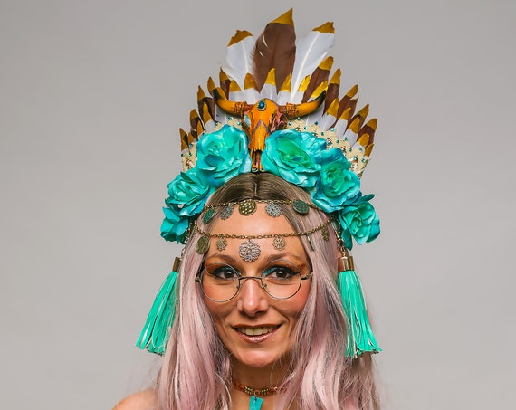 Southwestern Golden Feather Skull Headdress Bohemian Wild Turquoise Rose Indian Princess Crown Bovine Horns Headpiece Boho Desert Costume