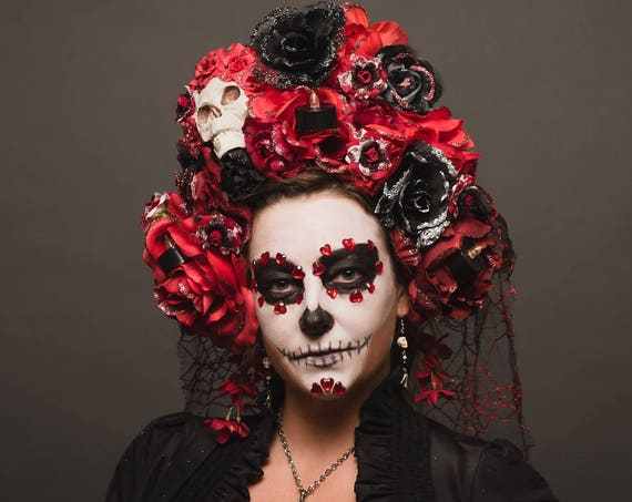Day of the Dead Catrina Headpiece Red Black White Roses Crown Skull WGT Costume Dia de los Muertos Headdress Lace Veil Mantilla Candle Web