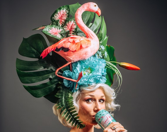 Large Pink Flamingo Tropical Headpiece Tiki Aqua Mint Blue Floral Fascinator Exotic Luau Hawaiian Oasis Frond Leaves Flowers White Trash
