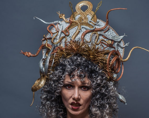 Medusa Snake Headpiece Rose Gold Silver Serpentine Costume Gorgon Goddess Headdress Reptile  Dance Gothic Drag Queen Crown Mums Hellenistic