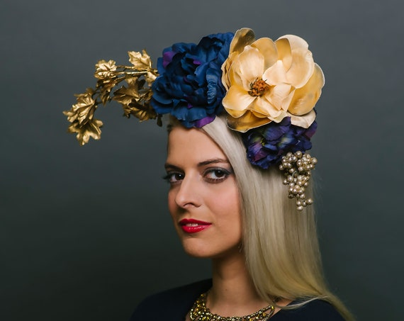 Golden Navy Blue Floral Headpiece Boho Dapper Day Southwestern Roses Fall Fascinator Magnolia Derby Peony Flower Hatinator Maple Branches