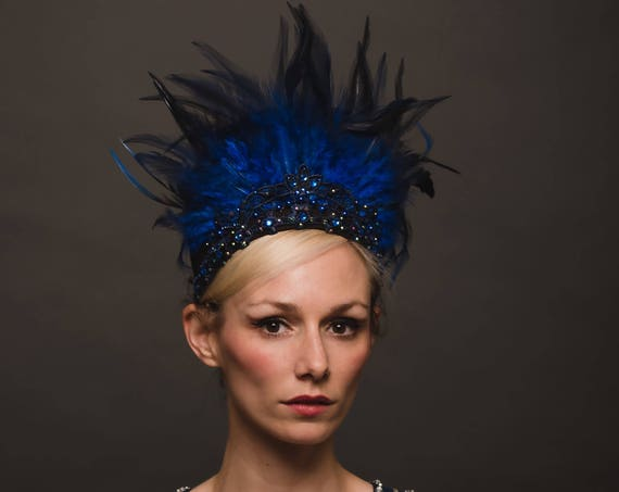 Navy Blue Ethereal Rave Halo Water Headpiece Feather Crown Showman Carnivale Headdress Four Elements Pearl Goddess Burlesque AB Drag Queen