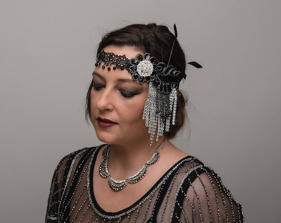 Black Silver Flapper 1920s Headpiece Lace Beaded Forehead Band Gatsby Lounge Headband Burlesque Art Deco Exotic Costume Feather Headwear