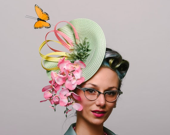 Sage Green Pink Yellow Butterfly Fascinator Dapper Spring Summer Floral Head Piece Garden Party Horse Race Show Derby Melbourne Hatinator