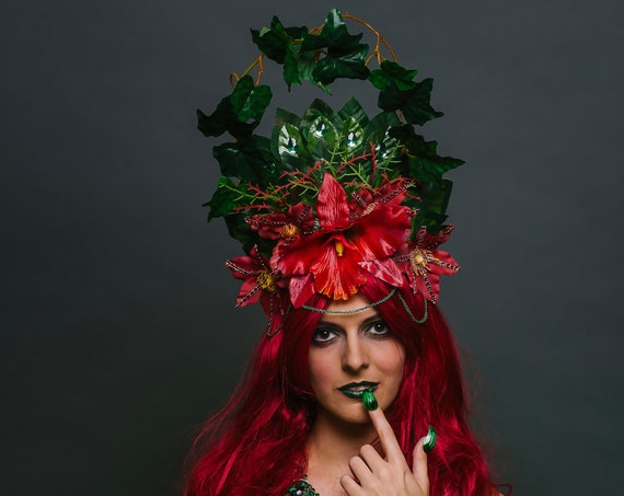 Poison Ivy Mother Earth Headdress Red Orchid Thorn Wicked Vine Halo Nerdlesque Villain Costume Headpiece Exotic Green Flower Crown Jungle