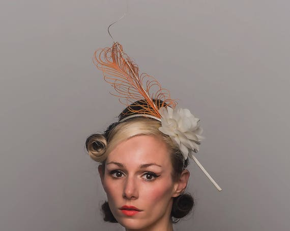 Long White Feather Hair Flower Dapper Day Fascinator Spring Summer Cream Hatinator Horse Derby Orange Spiked Simple Peach Tea Party Headband