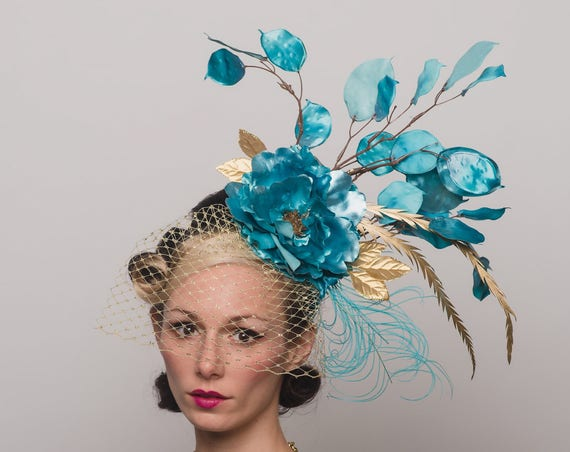 Aqua Blue Gold Birdcage Veil Fascinator Floral Carnevale Hair Flower Metallic Feathers Spring Dapper Day Party Headpiece Derby Horse Hat