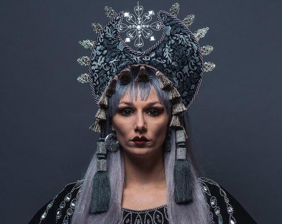 Gothic Vampire Queen Crown Malificent Headdress Succubus Demon Mistress Underground Fortune Teller Kokoshnik Oracle Headpiece Black Cryptic