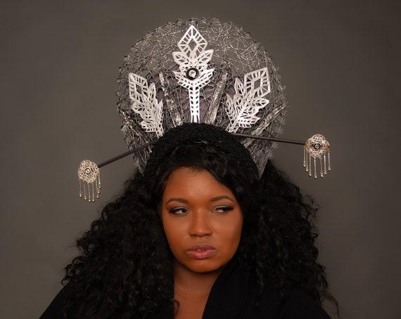 Alien Queen Crown Sci Fi Costume Silver Cosmic Headdress Primordial Headpiece Geometric Science Outer Space Post-Apocalyptic Cyber Kokoshnik