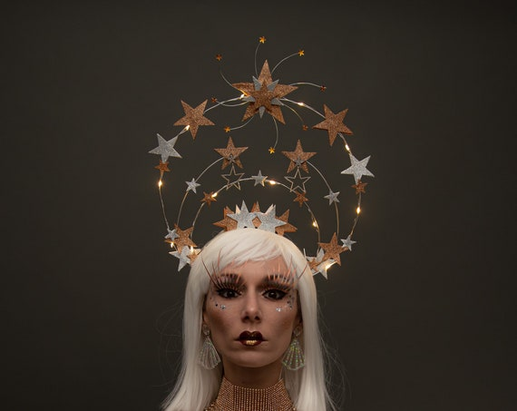 Star Halo Crown Celestial Gold Silver Saint Headpiece Light Up Burlesque Galactic Queen Cosmic Goddess Costume Dance New Years Eve Headdress
