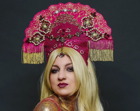Pink Golden Costume Headdress Carnevale Pearl Dance Burlesque Queen Fan Headpiece Gypsy Art Nouveau Theater Indian Festival Crown Empress