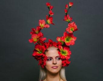 Red Floral Festival Headdress Renaissance Fairy Flower Crown Fantasy Rave Spring Summer Fall Fire Faerie Dragon Headpiece