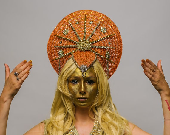 Apollo Sun Golden Celestial Headdress Cosmic Heavenly Bohemian Goddess Mayan Stellar Halo Costume Crown Star Headpiece Ethereal Solar