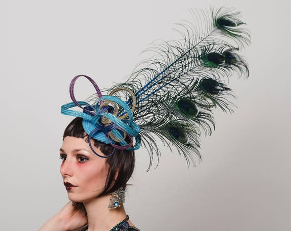 Purple Blue Gold Peacock Feather Fascinator Large Teal Aqua Big Showman Hatinator Loop Garden Tea Party Headpiece Derby Horse Headdress