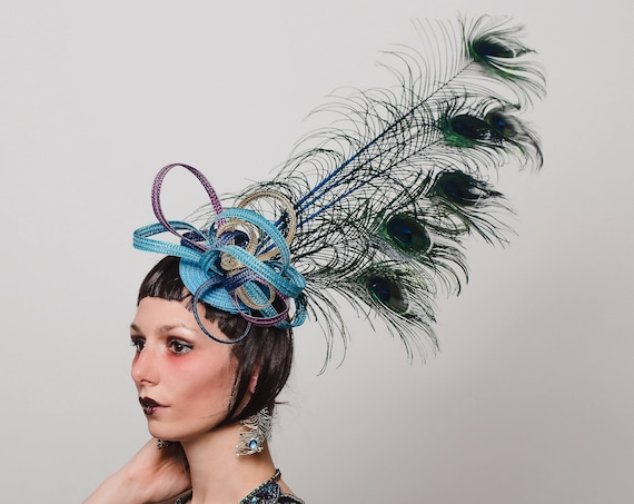 Purple Blue Gold Peacock Fascinator Large Teal Aqua Feather Showman Hatinator Loop Garden Tea Party Headpiece Derby Horse Headdress