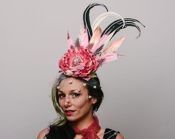 Mauve Floral Black White Feather Pearl Hatinator Blush Pink Rose Headpiece Dapper Day Birdcage Veil Crystals Melbourne Horse Hatinator
