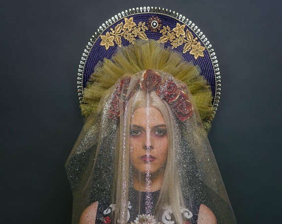 Navy Blue Red Gold Virgin Mary Halo Headdress Saint Top Veil Madonna Costume Floral Blessed Mother Head Piece Queen Rose Flower Crown