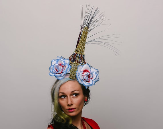 Eiffel Tower Fascinator Golden Bastille Day Theme Quirky Paris Light Up Headpiece Novelty Red White and Blue French Funny Festival Hatinator